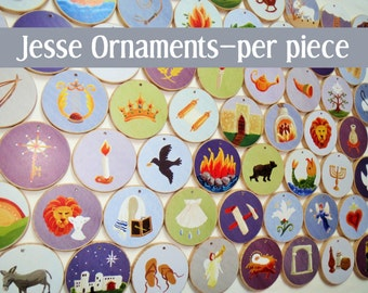 Advent Individual Jesse Tree Ornaments - Multi-colored, per piece - Christian Advent Calendar leading to Christmas, choose your own