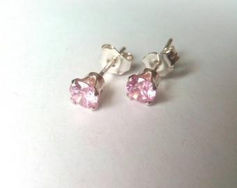 Rose Pink CZ Stud Earrings, 4mm Studs, Cubic Zirconia Stud Earrings, Sterling Silver Studs, Crystal Earrings, Gift, CZ Earrings