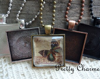 50 Pendant Trays 1 Inch Square Blank Bezel Settings Mix and Match Colors Silver, Bronze, Copper, Black 25mm