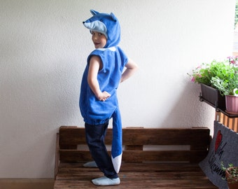 Blue Fox Costume, Halloween Costume, Party Costume in Royal Blue, Light Blue and White, Halloween Costume for Boys or Girls, Toddler Costume