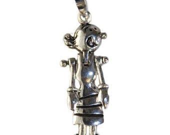 925 Sterling Silver Olive Oyl Pendant