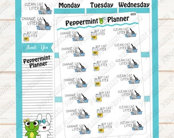Change / Clean / Buy Litter --- Planner Stickers --- 469