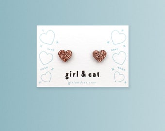 Heart Earrings, Copper, Rose Gold, Glitter, Tiny Stud Earrings, Dainty Earrings, Girlfriend Gift, Bridesmaid Jewelry, Valentines Day