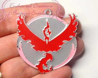 Pokemon Red Team Valor Inspired Chunky Pendant, Keychain, Bookmark, Zipper Pull, Chunky Jewelry, Purse Charm