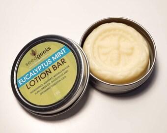 Eucalyptus Mint Lotion Bar - Mango Butter, Beeswax - Solid Lotion Bar, Travel Toiletry, Skin Cream, Body Butter, Moisturizing
