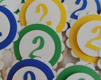2nd Birthday Cupcake Toppers - Royal Blue, Green and Yellow - Child Birthday Party Decorations - Set of 12