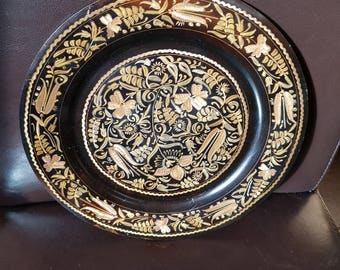 Copper Plate Beautifully Etched Decoration in Gold & Copper on Black. Circa 1930s