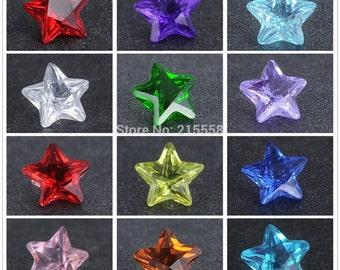 12 Crystal Rhinestone Star Birthstone Floating Locket Charms Memory Lockets Living Lockets Floating Birthstones Locket Birthstones 4mm