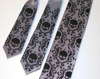 RokGear Skull ties - 5 Damask Skull ties, 3 mens neckties and 2 boys neckties , available in 59 different necktie colors