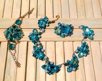 Stunning Husar. D signed Vintage Necklace Brooch and Bracelet set