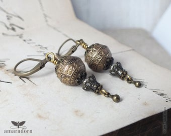 Antiqued Gold Hot Air Balloon Earrings, Steampunk Balloon Earrings, Steam Punk Ear Rings, Old World Jewellery, Handmade UK