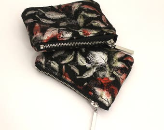 Black metallic feather Coin purse , Bag organiser , Small pouch , small gift