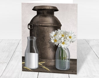Rustic Dairy Farm Note Cards - Country Farm Antique Milk Can Dairy Farm Thank You Cards - Printed Farm Cards