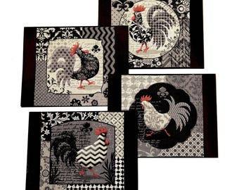 rooster printed fabric notecards