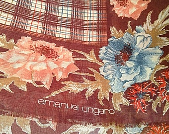 Large Vintage Scarf-Emanuel Ungaro Scarf-Floral Print Scarf-Wool Blend Shawl-Rust Burgundy Ivory Red Print Square Wrap-Scarf-1980's Cover-Up