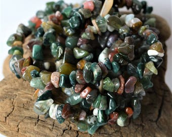 Fancy Jasper Chip Beads Multicolor Natural Gemstone Bead Lot Mixed Green Mauve White Burgundy Earthy Colors Natural aka Indian Agate