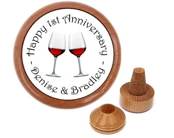Personalised wedding anniversary wine stopper set   gift present for couple   Unique anniversary gift personalized for parents   couple