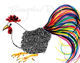 Colorful Calligraphy Rooster. Signed Limited Edition. Bird lovers gifts.