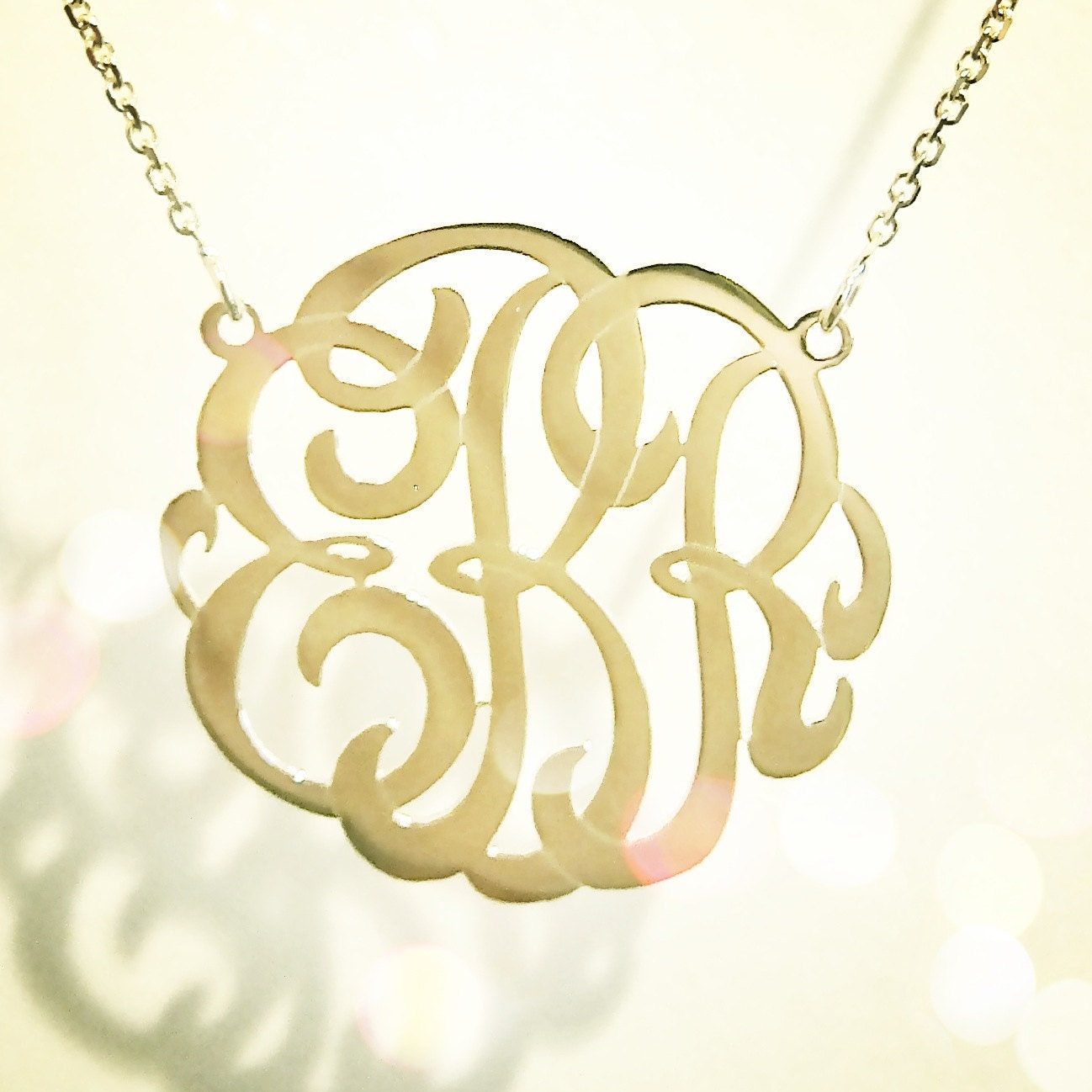 Small personalized monogram necklace 14k yellow rose or zoom aloadofball Gallery