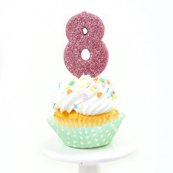 """3"""" Number 8 Candle, Giant 8 Candle, Blush Pink Party, Blush Pink Candle, Gold Birthday Candle, Glitter Birthday, Large Gold Candle"""