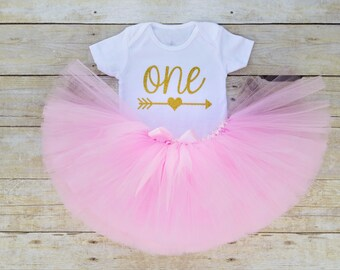 First Birthday Outfit Girl...Pink and Gold Tutu Outfit..Baby Girl 1st Birthday Outfit..Pink and Gold 1st Birthday...1st Birthday Outfit Girl