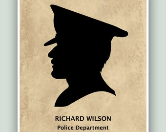 PERSONALIZED Policeman print, Policeman gift, Policeman poster, Policeman decor, Officer gift, Policeman hat, Officer poster.