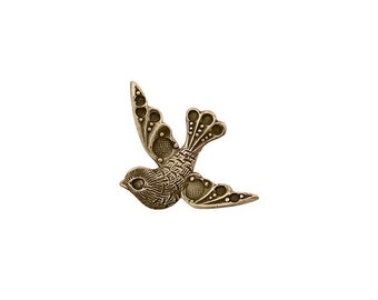 Small Bird with Settings for Tiny Round Rhinestones - Antiqued Brass Ox - Nickel Free - 2 Pieces - Vintage Style Scrapbook Embellishments