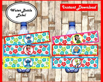 lilo and stitch Water Bottle Label, printable lilo and stitch party Water Bottle Label, Lilo & Stitch water