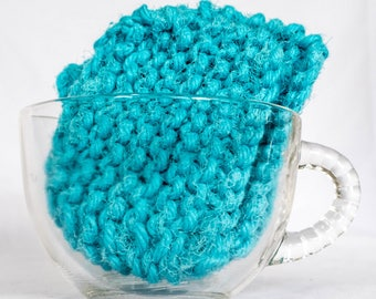 Four Mini Kitchen Bathroom Scrubbies turquoise blue
