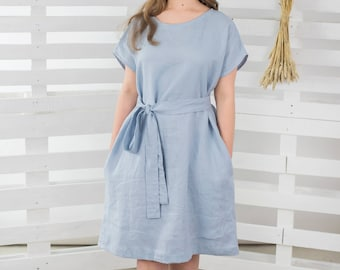 SAMPLESSALE! Linen dress,Linen Dress with short sleeves,Womens Linen dress, Bluish grey dress,Washed and Softened Linen Clothing,Linen Tunic