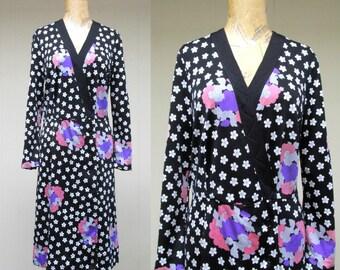 Vintage 1970s Dress / 70s Hanae Mori Floral Print Jersey Semi-Wrap Dress / Medium