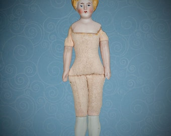 """Antique German bisque dolls' house doll woman blonde top knot hair 6 1/4"""""""