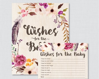 Boho Wishes for Baby Baby Shower Activity - Printable Well Wishes for Baby Cards and Sign - Instant Download- Bohemian Feathers Flowers 0043