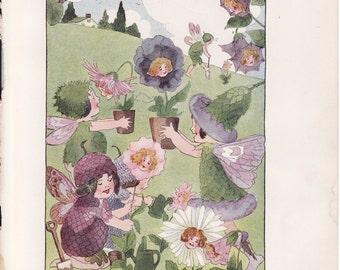Antique Victorian Art Print-Book Plate-Lithograph-Fairies Planting Flowers-Gardening-Artist Penny Ross-1914