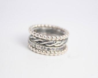 Wedding Sterling Silver Stacking Ring Set