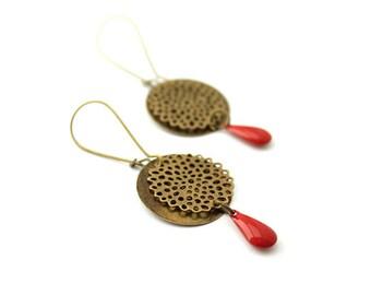 Bronze earrings / enamel earrings / drop earrings red / bronze and Red earrings