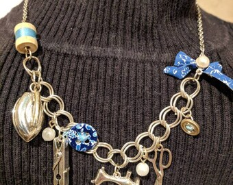 Sewing Theme Silver Charm Necklace