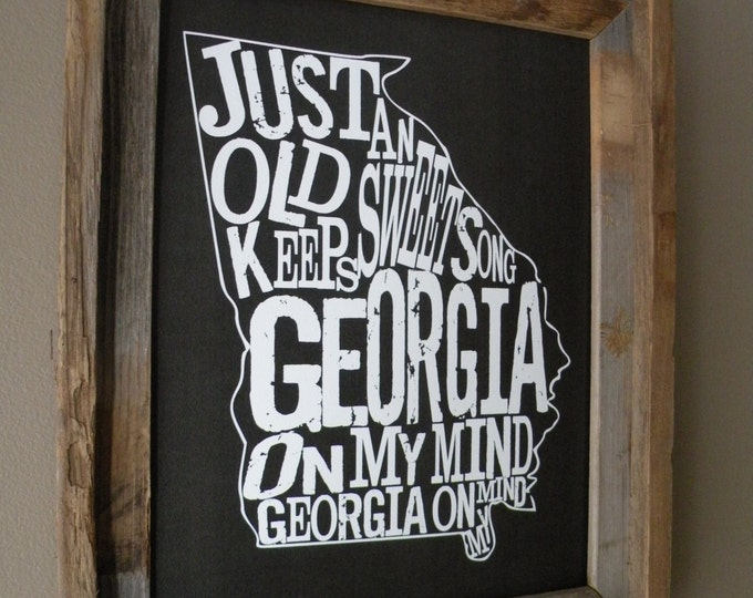 Black Georgia On My Mind Map Print - Unframed