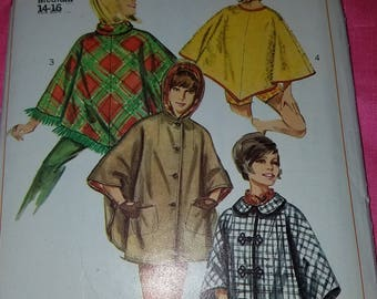 1960s 1966 6651 Simplicity Poncho Hood Pattern Uncut Size Miss Med 14-16