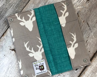 Health book, deer grey background, inside mesh teal (the direction of the fabric may vary)