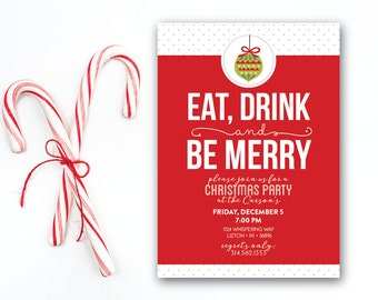 INSTANT DOWNLOAD Christmas party invitation / eat drink be merry invitation / Holiday party / modern Christmas invitation / 5x7