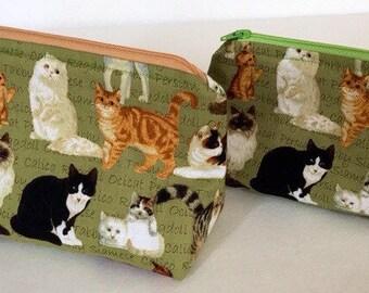 Cat makeup bag, cat zipper pouch, Cat lover gift, makeup bag, toiletry bag, green makeup bag