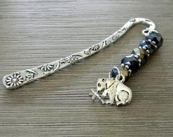 Marque page Panda avec lustre noir en verre perles fleur Berger court crochet signet couleur argent