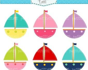 ON SALE Boat Clip Art - Nautical Sail Boat clip art - instant download Digital clip art, cute stitched boat clip art, pink, blue, red