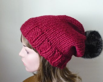 Knit Slouch Hat Faux Fur Pompom Warm Wool Blend Winter Hat in Cranberry with Black Cat Pompom - Ready to Ship - Gift for Her