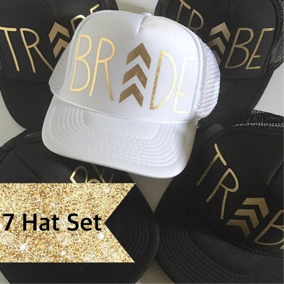 7 Chevron Bride Tribe Hat SET| Bride Hat| Bachelorette hats| 1 White Bride, 6 Black Tribe Hats-with Gold vinyl lettering