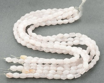 Pink Quartz Gemstone Barrel Beads Faceted Nugget Beads 8*10mm