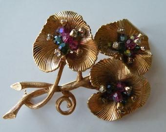 Vendome floral leaf swarovski beads brooch pin