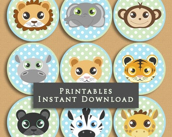 Green and Blue Baby Jungle Animals Printable Cupcake Toppers Baby Shower or Birthday DIY Printable INSTANT DOWNLOAD