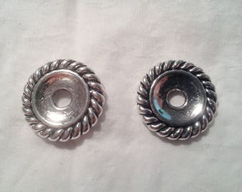 Set of 2 antique silver - 1 108 caps